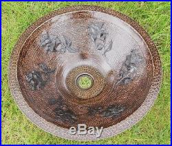 Copper Cone Shaped Vessel Sink withroses design Exclusive dark Patina