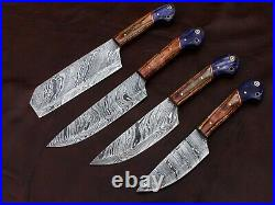 Hand Forged Damascus Steel Outdoor, Bbq, Kitchen Knives Set With Leather Kit Roll