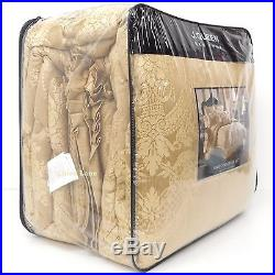 J. QUEEN Napoleon KING COMFORTER SET 5pc BEADED PILLOW NEW Floral Medallion GOLD