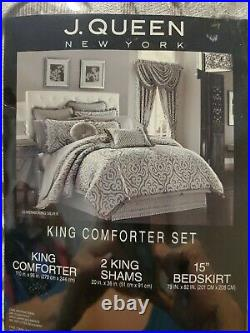 J Queen New York Luxembourg Silver King duvet and 4 shams mink, list $460