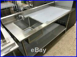 KCS WS-3072WSR 72 Stainless Steel Work Prep Table with Sink on Left with Faucet