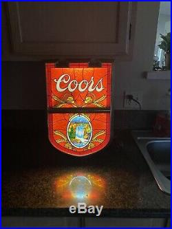 Rare Vintage COORS Beer lighted waterfall sign stained glass look Permacolor KCS